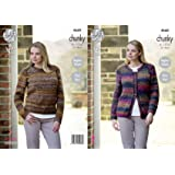 469d6b1e8 King Cole Womens Chunky Knitting Pattern Ladies Easy Knit Raglan Sleeve  Cardigan   Sweater (4660