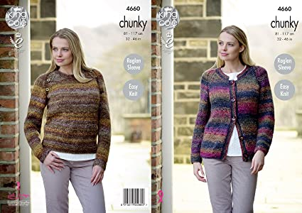 93f590dd5 Image Unavailable. Image not available for. Colour  King Cole Womens Chunky  Knitting Pattern Ladies Easy Knit Raglan Sleeve Cardigan ...