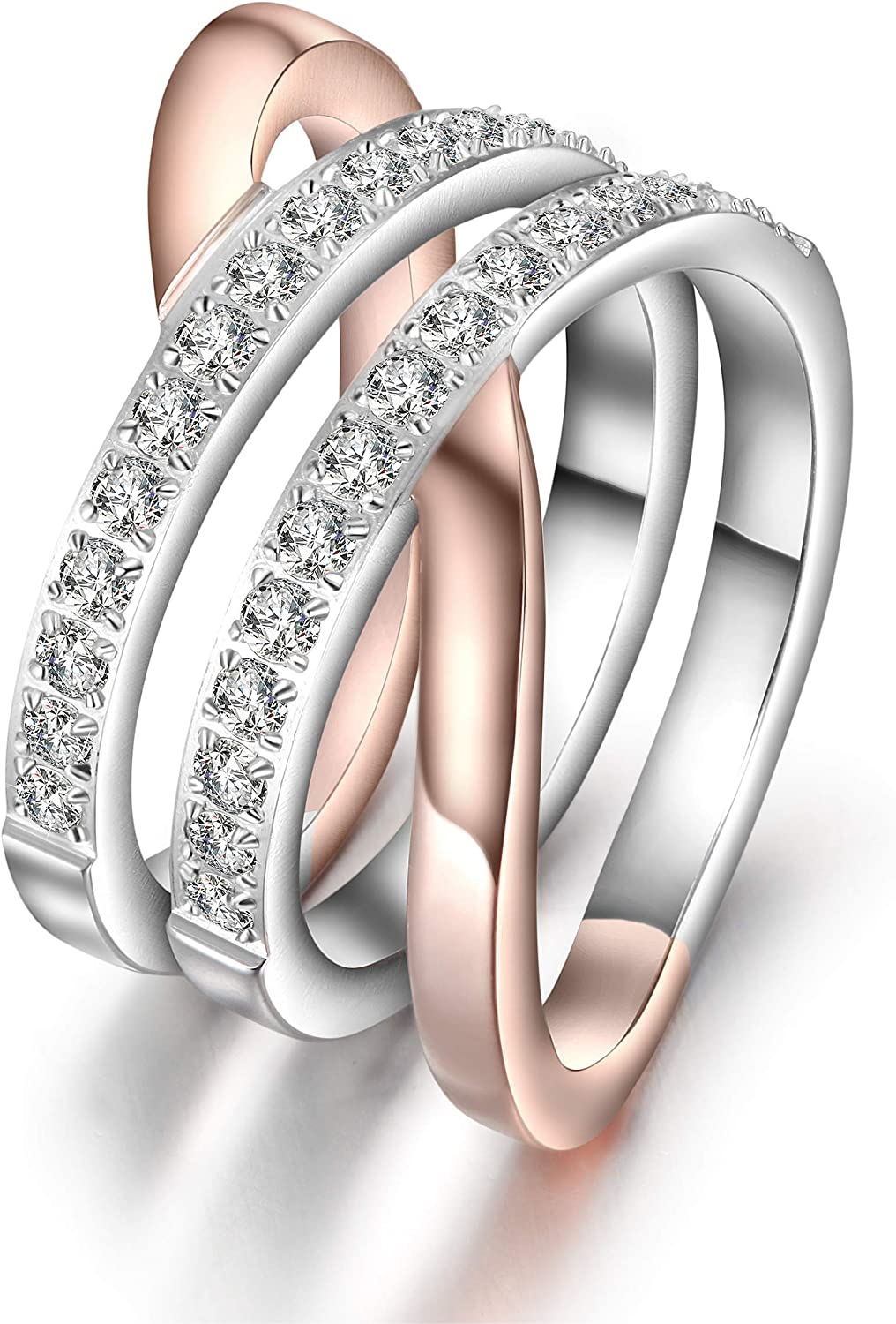JINBAOYING Gold Rings for Women Girl Statement Fashion Rings Gold Plated Stainless Steel Engagement Promise Knot Love Rings