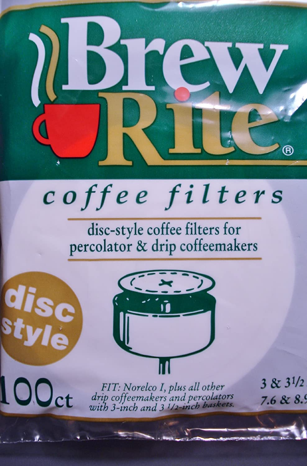 "Brew Rite 737641 Coffee Filter, 3"" and 3 1/2"" Disc, White"