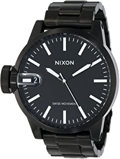 b44a1627fff Amazon.com  Nixon - Sentry Leather - Dark Denim   Cream  Nixon  Watches