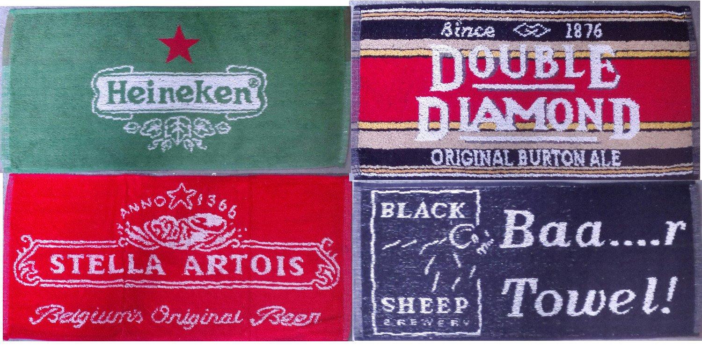 Pub Paraphernalia - Juego de 4 toallas de bar, diseño de marcas de cerveza: Amazon.es: Hogar