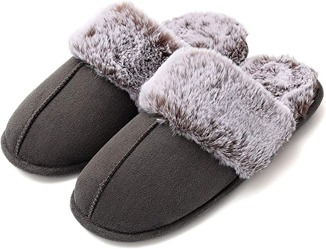 Women Slippers Fluffy Fur Warm Winter House Shoes Casual Shoe Black Pink White