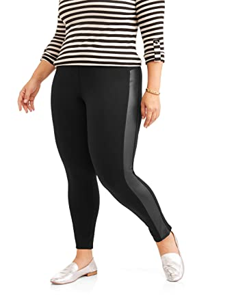 bf8011d5f18c5 Faded Glory Women's Plus-Size Pull On Ponte Leggings (2X, Black With ...