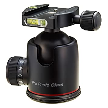 Amazon.com : Photo Clam PRO-50NS Photo Clam Pro 50NS PRO Head with Friction Control, 3/8-Inch Socket, Side and Top Bubble Levels (Black) : Tripod Heads ...