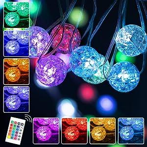 RJVW Crystal Globe String Lights,Crackle Ball String Lights,Globe Crystal Fairy String Lights for Bedroom 33FT 100 LED USB Plug Control,for,Indoor,Outdoor,Wedding,Christmas,Valentines Day (16 Colors)