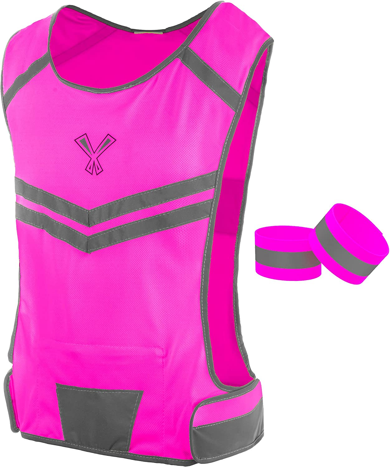 247 Viz The Reflective Vest with Inside Pocket & 2 High Visibility Running Safety Bands : Sports & Outdoors