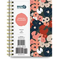 2021 Artsy Floral Annual Planner by Bright Day, Yearly Monthly Weekly Daily Spiral Bound Dated Agenda Flexible Cover…
