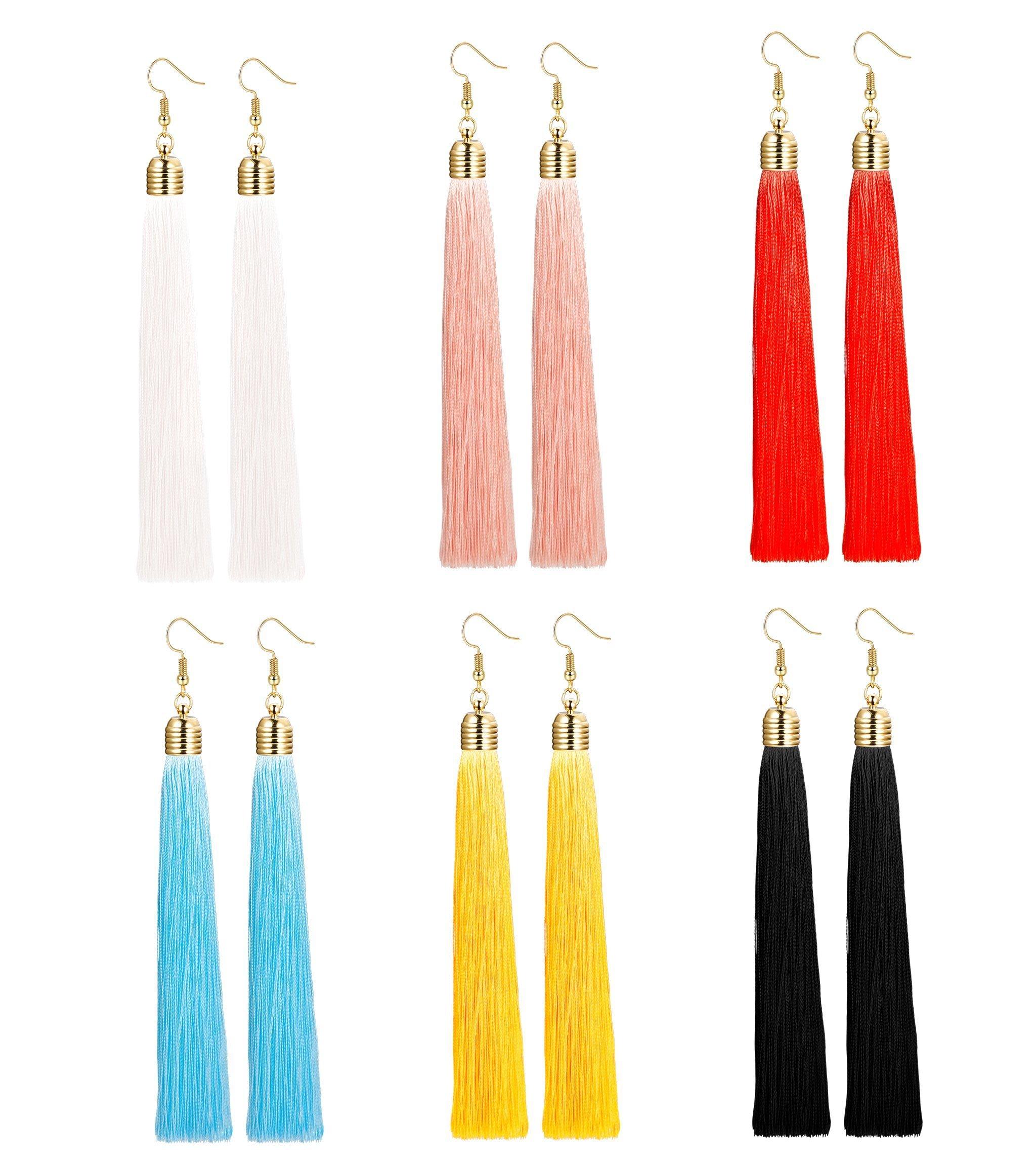 Milacolato 6 Pairs Long Tassel Tiered Thread Statement Tassel Earrings for Women Girls Dangle Fringe Drop Earrings Elegant Long