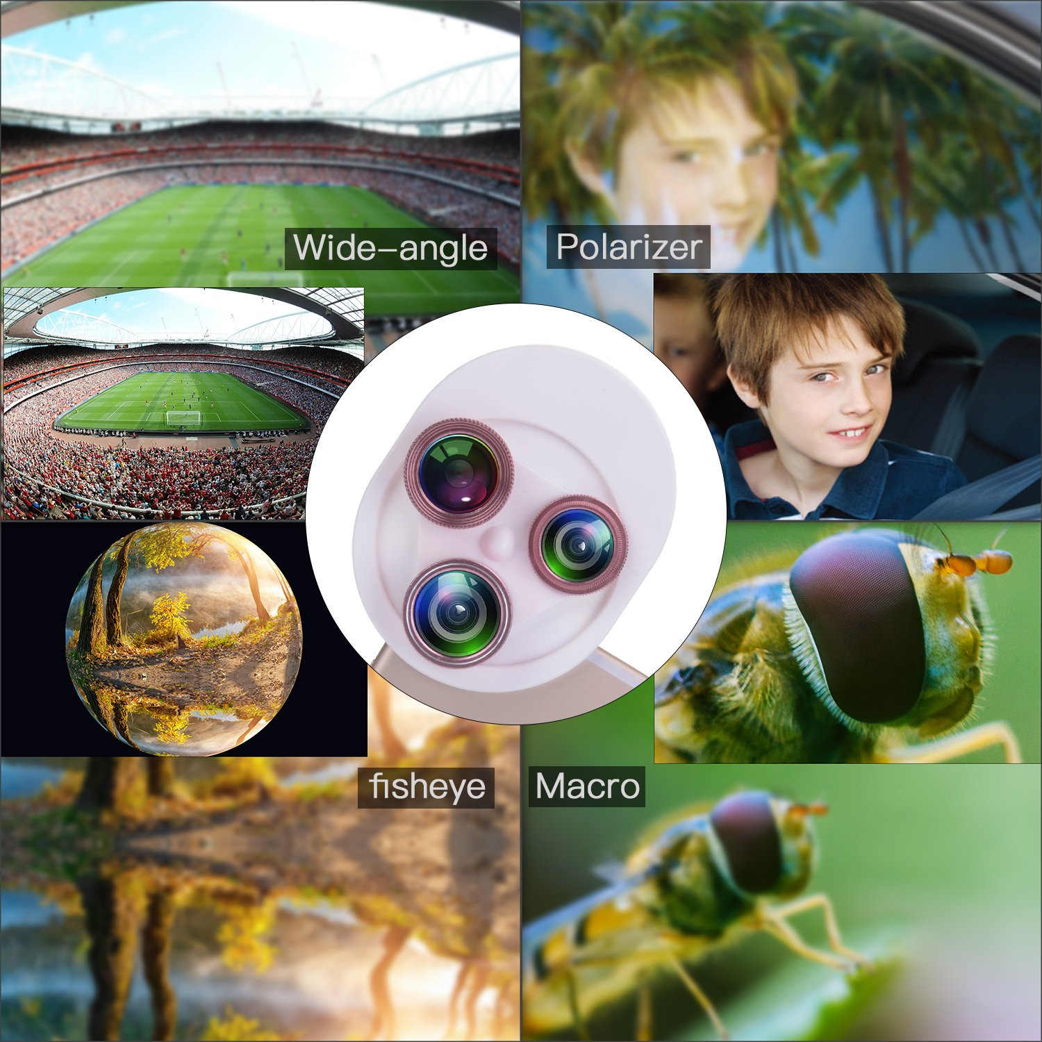 Cell Phone Camera Lens, YELIN 4 in 1 Phone Camera Lens, 198°Fisheye Lens 15X Macro Lens 0.63X Wide Angle Lens CPL Lens Universal Clip-on Camera Lens Kit for iPhone Samsung etc. (Pink & White)