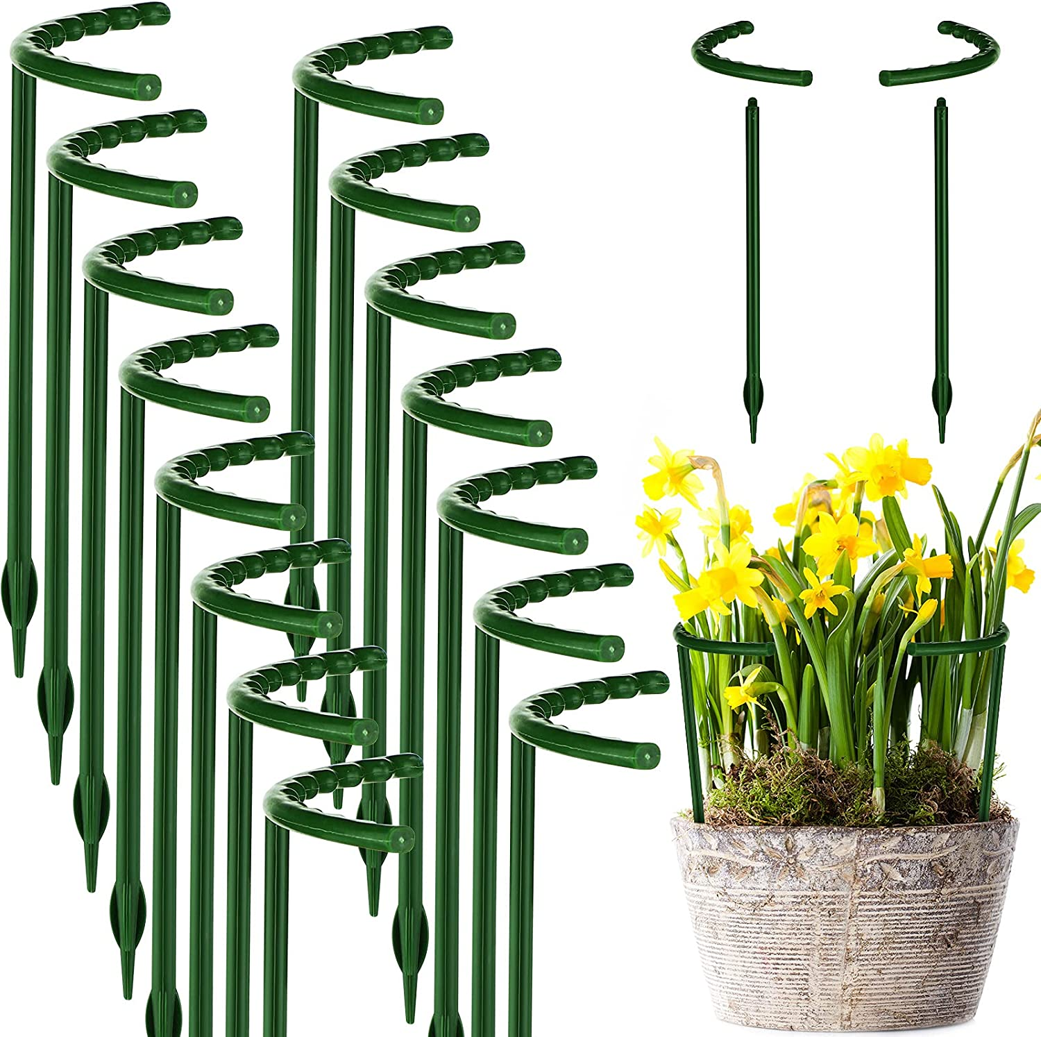 Plant Support Garden Flower Support Stake Half Round Plant Support Ring Plastic Plant Cage Holder Flower Pot Climbing Trellis for Small Plant Flower Vegetable (5.7 x 5.9 Inch,15 Pieces)