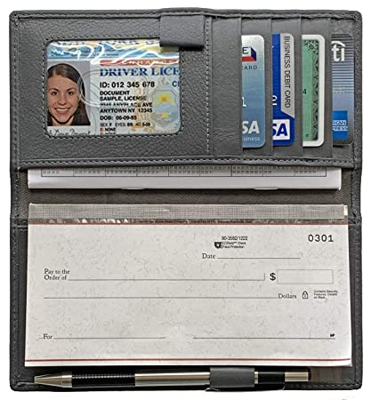 wholesale dealer 34938 81fb7 Grey RFID Leather Checkbook Cover with Credit Card Slots and Pen Holder