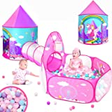 Gift for Girls Playhouse with Tunnelfor Toddlers, Unicorn Princess Castle Play Tent for Kids Girls & Pop Up Play Tunnel & Ba
