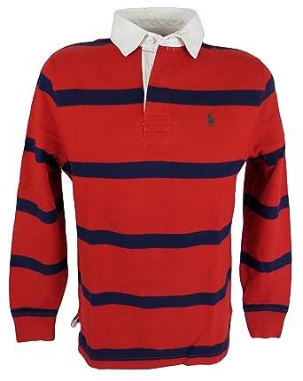 Polo Ralph Lauren Men\u0027s Long Sleeve Rugby Shirt Red Blue Striped (XX-Large)