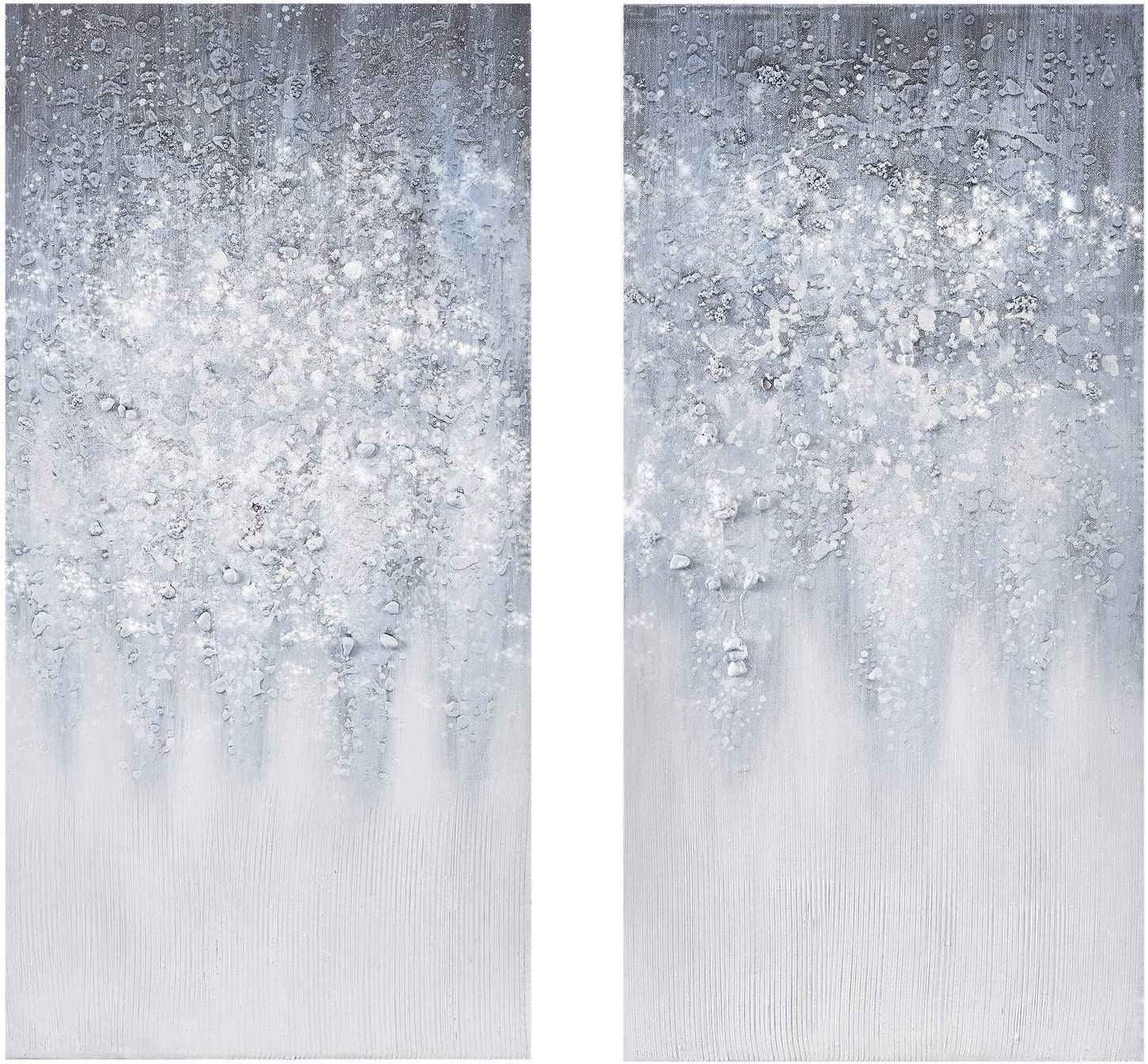 Madison Park Wall Art Living Room Décor - Abstract Glitter Embelished Canvas Home Accent Modern Dining Bathroom Decoration, Ready to Hang Painting for Bedroom, 15