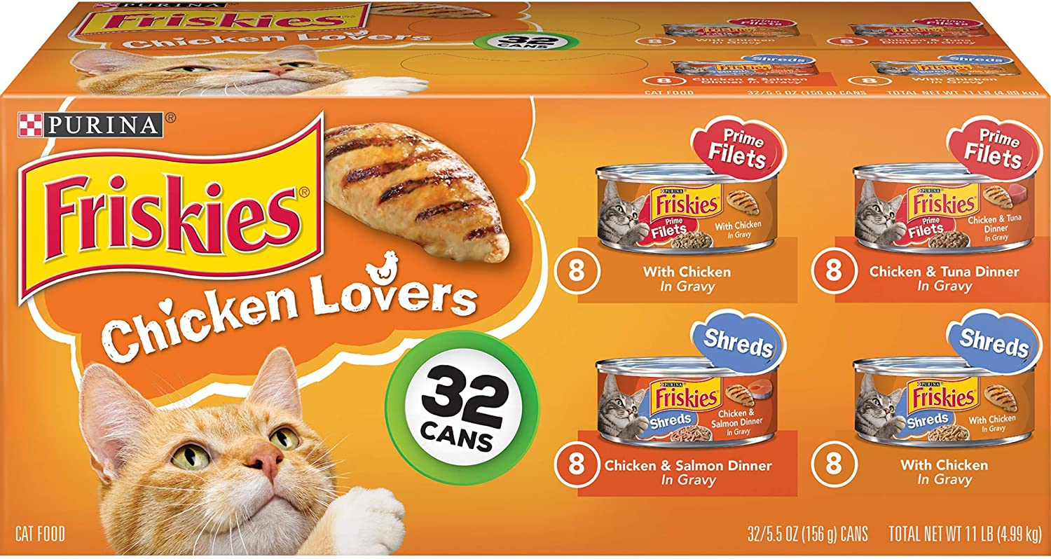 PACK OF 2 - Purina Friskies Chicken Lovers Cat Food Variety Pack 32-5.5 oz. Cans