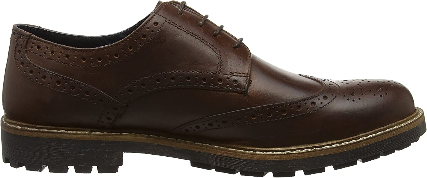 Red Tape Rydal Mens Wood Brown Leather Brogue Gibsons !
