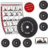 POWRX - Dischi pesi ghisa 20 kg set (2 x 10 kg) - Per manubri e bilancieri con braccio da 30 mm + PDF workout (Nero)