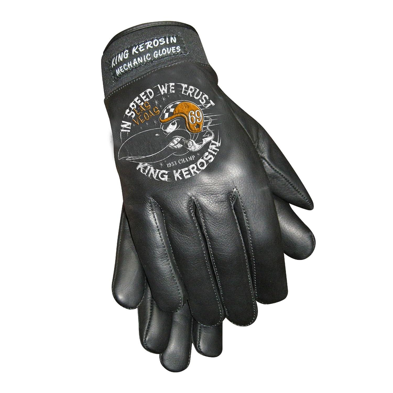 King Kerosin In Speed we Trust Handschuhe Lederhandschuhe XL, Schwarz