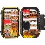 FISHINGSIR Fly Fishing Flies Kit - 64/100/110/120pcs Handmade Fly Fishing Lures - Dry/Wet Flies,Streamer, Nymph, Emerger…