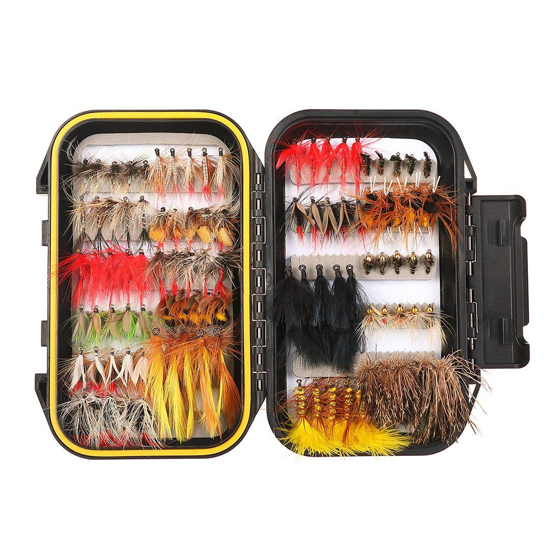 FISHINGSIR 100PCS Fly Fishing Flies Kit Assorted Flies Trout Flies Fly Fishing Lures with Waterproof Fly Box