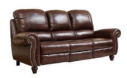 Abbyson® Durham Leather Pushback Reclining Sofa