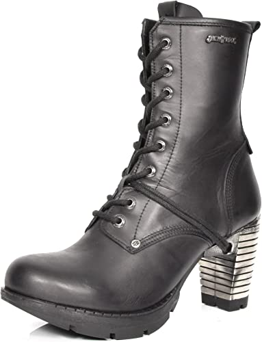 Cuir Rock Bottines Bout Chaussures à Talon New en Bloc Rond nymN0v8wO