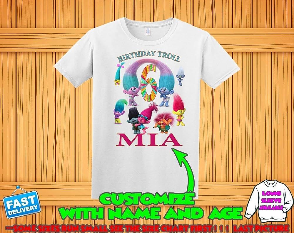 Amazon Com Trolls Birthday Shirt Trolls Poppy Branch Birthday Tshirt Trolls Theme Party Shirts Trolls Family Shirts Trolls Matching Shirts Handmade