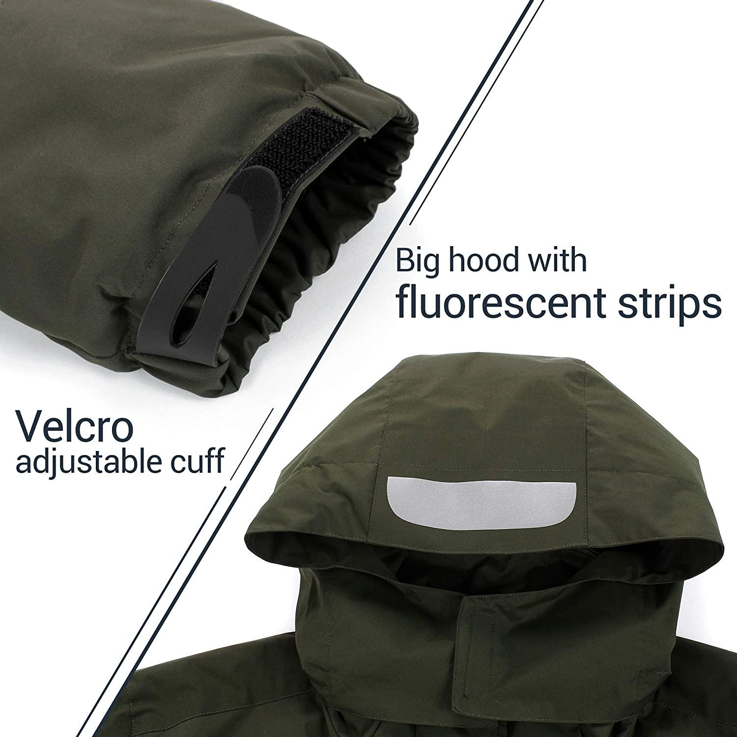 miiooper Mens Outdoor Jacket with Hood Detachable Waterproof Sport Mountain Jackets Coat for Hiking Camping Ski