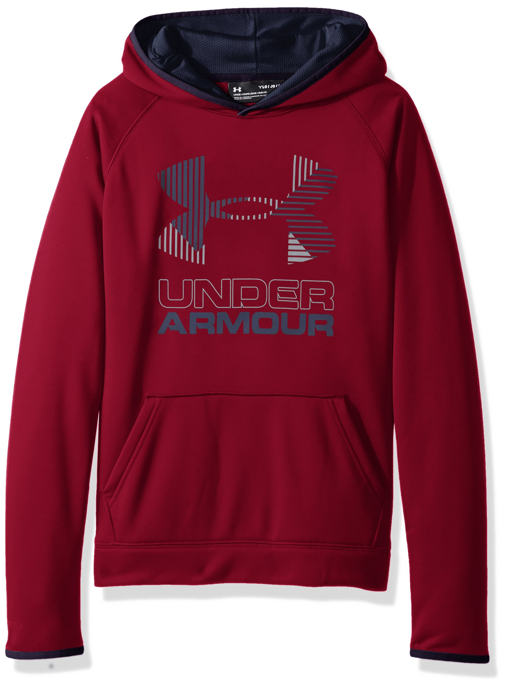 Under Armour Boys' Armour Fleece Solid Big Logo Hoodie, Black Currant /Steel, Youth X-Small
