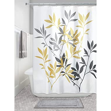 iDesign Leaves Fabric Shower Curtain, Modern Mildew-Resistant Bath Curtain for Master Bathroom, Kid's Bathroom, Guest Bathroom, 72 x 72 Inches, Yellow and Gray