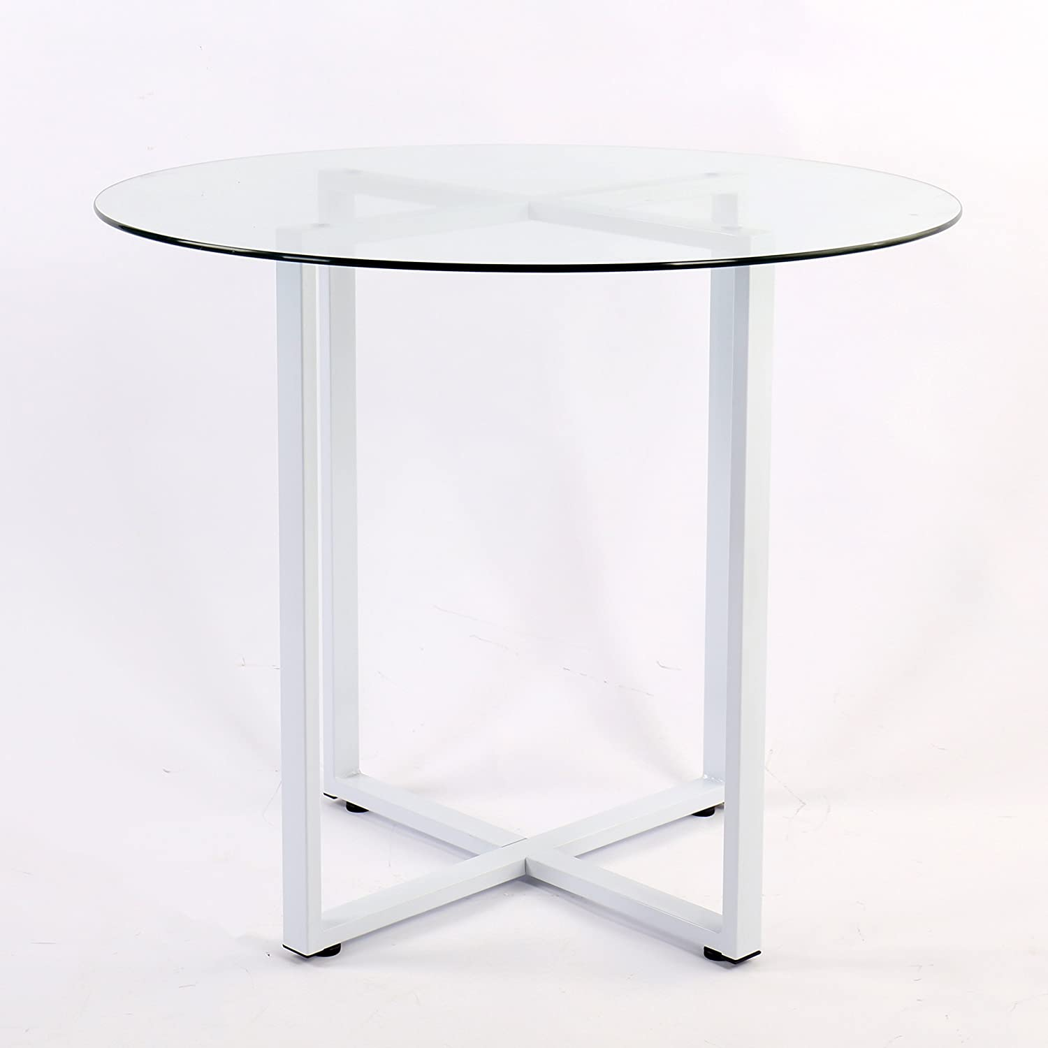155ff55ee5e6 Cherry Tree Furniture CTF LEROY Round Clear Glass Dining Table with White  Steel Frame  Amazon.co.uk  Kitchen   Home