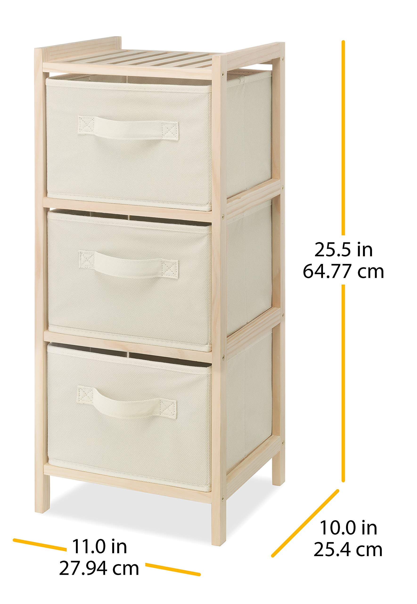 Whitmor 3 Drawer Wood Chest - Compact Design - Pull Out Fabric Bins - Natural Pine by Whitmor (Image #3)