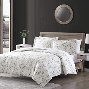Brielle Everly Watercolor Leaf 3 Piece Comforter Set - Full/Queen, Blue Watercolor Leaf Cotton Printed