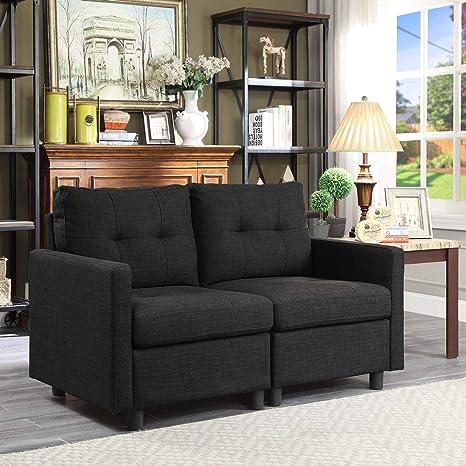 Amazon.com: Juego de sofá modular de tela de lino y ...