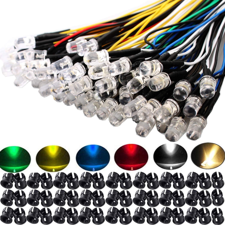 RUNCCI-YUN 60Pcs 5mm Luces LED de Diodo 12V DC Pre Wired LED Diodos Emisores de Luz Lámpara, con Cables de 20cm + 60Pcs 5mm Plástico Soporte de LED Clip Montaje para DIY Coche Barco Juguetes Partes