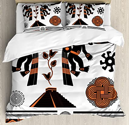 Amazon.com: Lunarable Aztec Duvet Cover Set King Size, Latin ...
