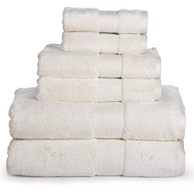 Luxury Cotton Bathroom Bath Towels: 6 Piece Towel Set for Household Bathrooms - Soft Plush and Absorbent Cotton with Double Stitch Hems - Bath / Shower Towels, Hand Towels, and Washcloths - IVORY