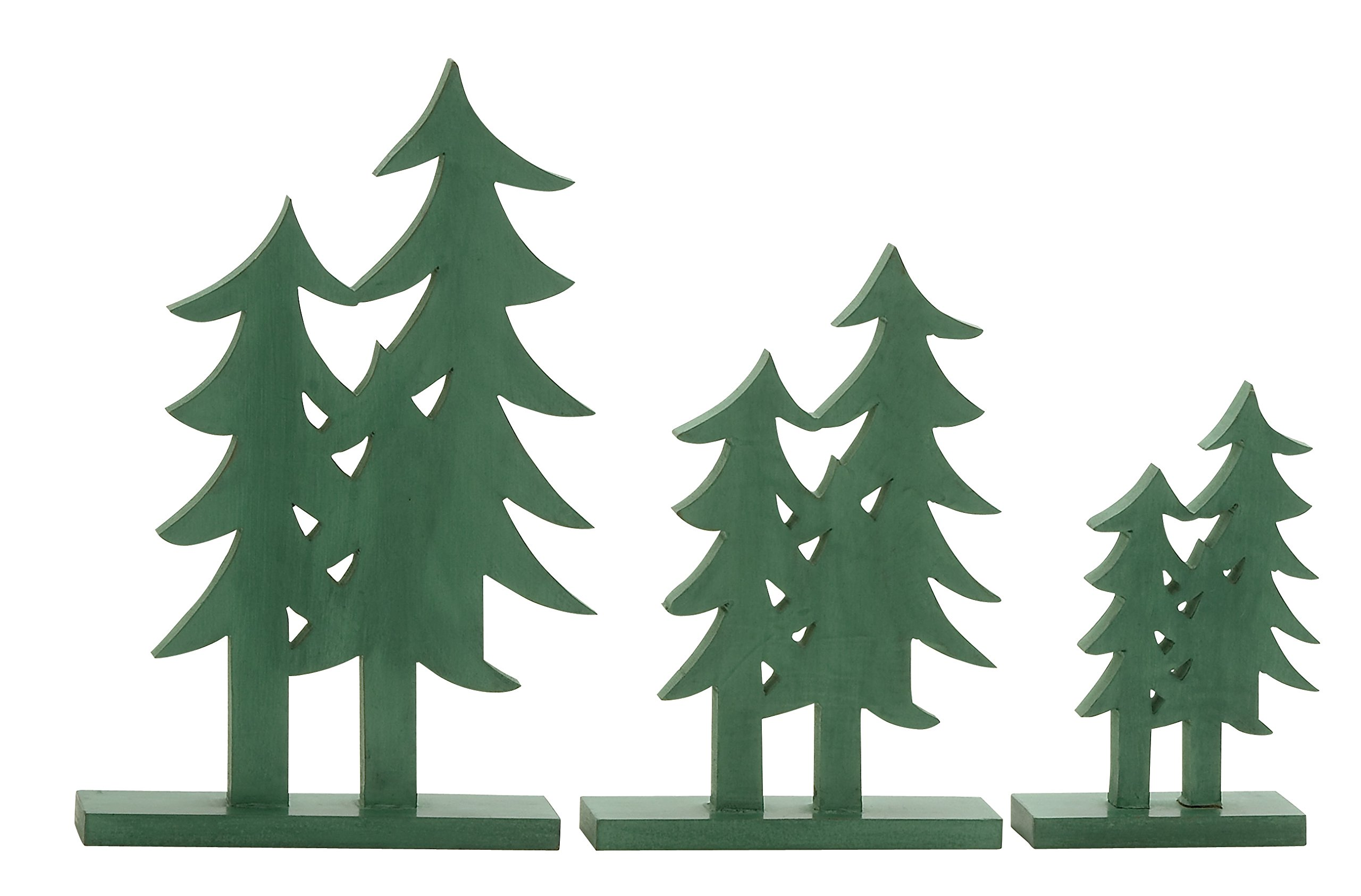 Plutus Brands Green Wood Christmas Tree (Set of 3), 10 by 12 by 16''