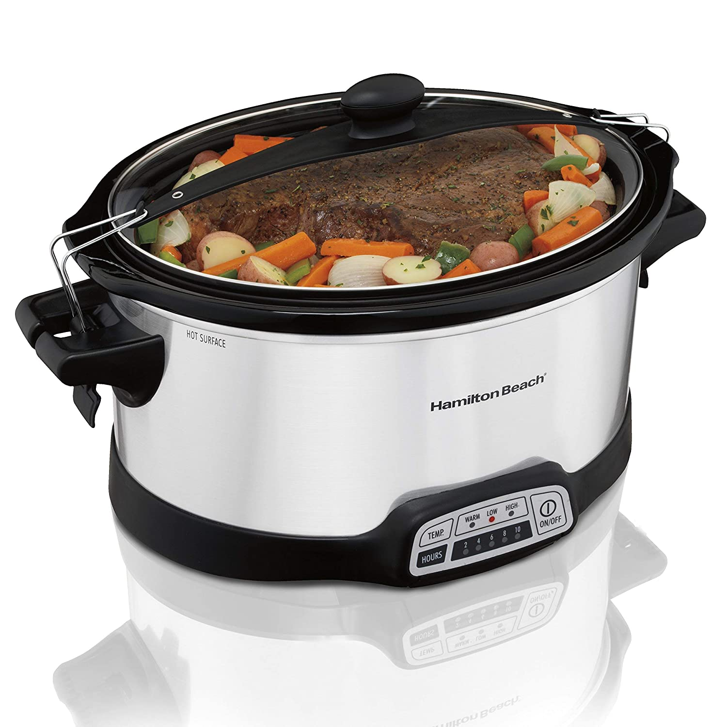 Hamilton Beach Programmable Slow Cooker, 7 quart with Clip-Tight Sealed Lid, Stainless Steel (33476), Silver (Renewed)