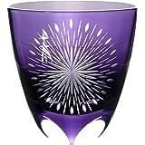 清水硝子 丸ロックグラス [ 紫/専用の桐箱入り ] 江戸切子 隅田川の花火 お土産 (日本製)
