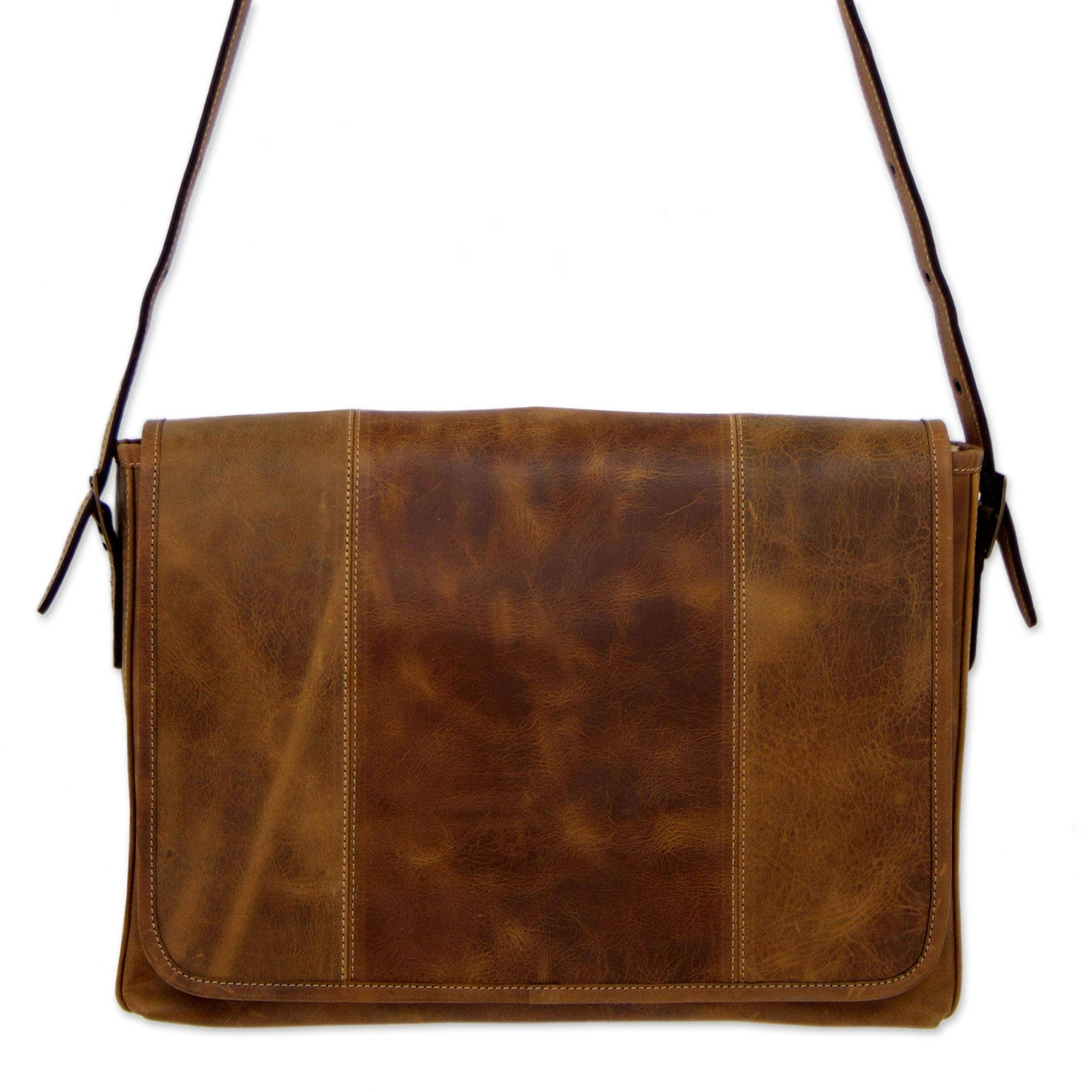 NOVICA Brown Leather Laptop Case, Bohemian VIP'