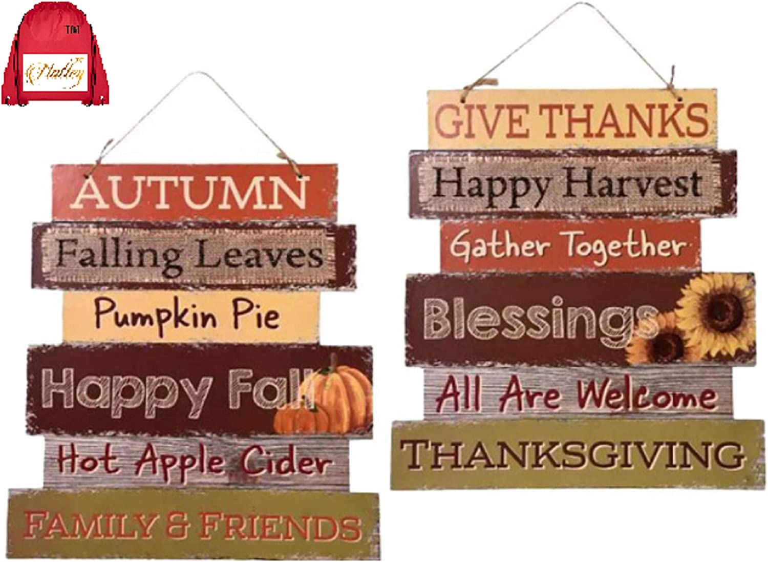 Nas Happy Fall Autumn Decoration Wall Hanging Door Farmhouse Welcome Wood Sign Thanksgiving and Harvest Blessings Pumpkin Gather Together Family Friends (Bundled with Exclusive Fallhiyab-TM) Set of 2