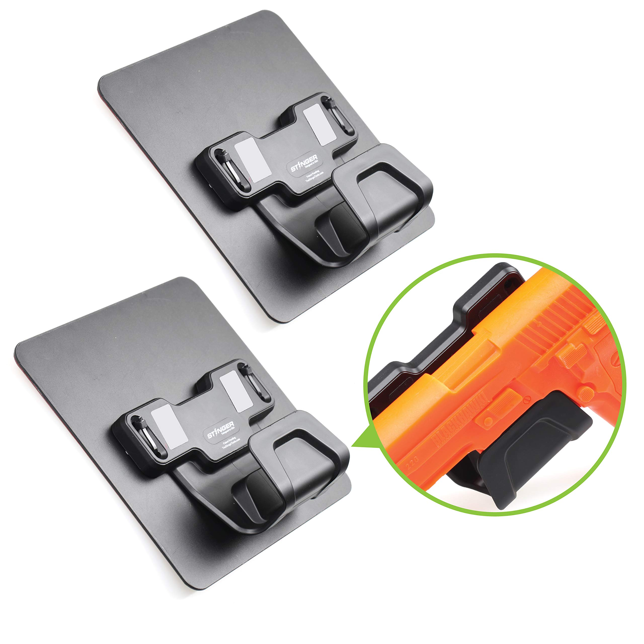 Stinger Magnetic Gun Holder w/Safety Trigger Guard Protection, w/Heavy Duty Adhesive Plate Non-Drill Solution, Wall Mount Gun Rack Holster Handgun Shotgun Firearm Conceal (Grey 2pcs Combo) by Stinger
