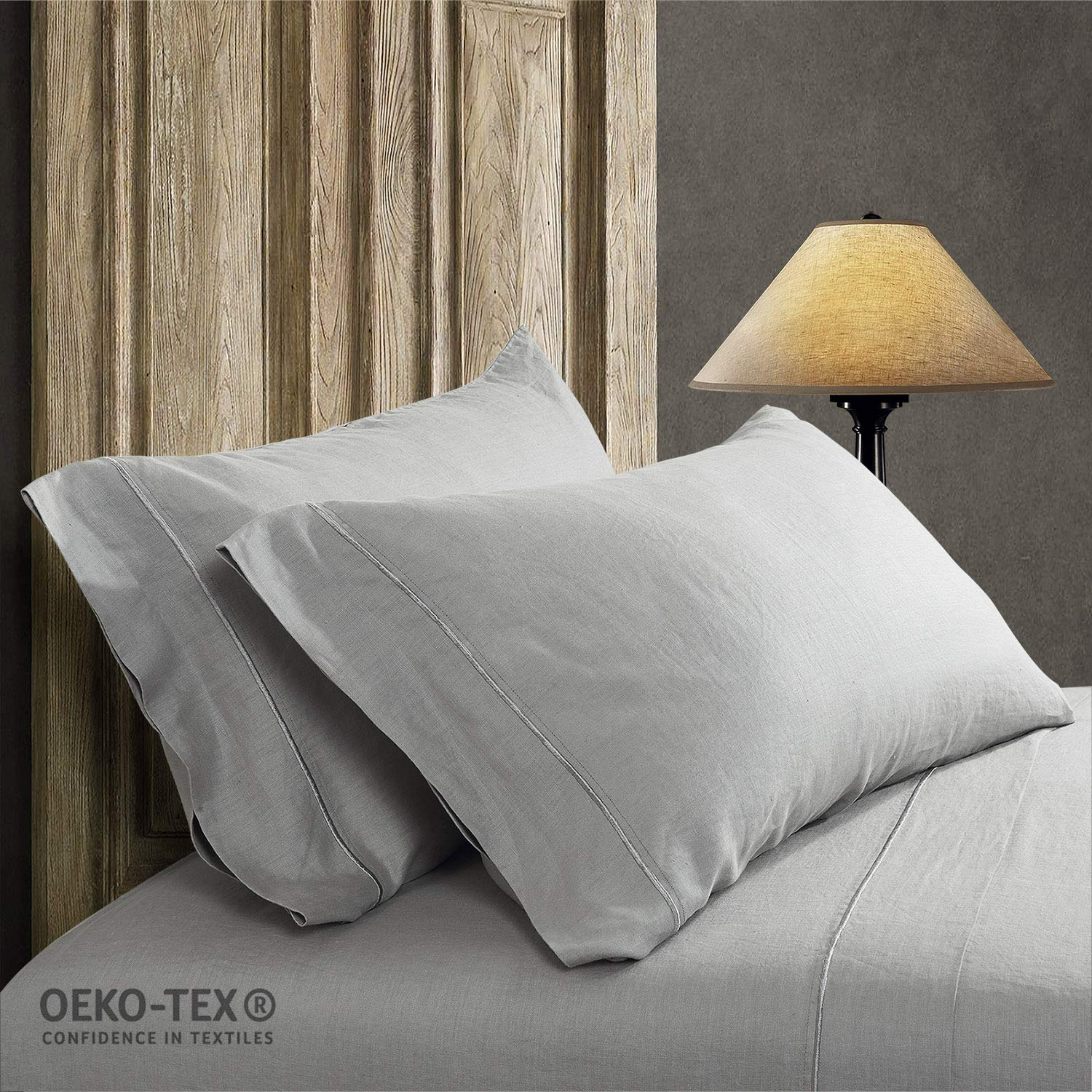 Simple&Opulence 100% Stone Washed Linen Embroidered Thread Solid 2 Pillowcase (King, Grey)