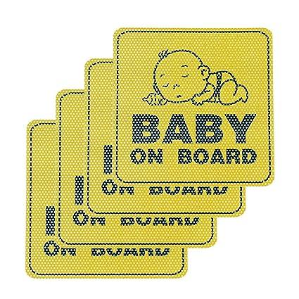 HOMIMP Pegatina para Coche con Texto en inglés Baby on Board, 4 Unidades, Universal