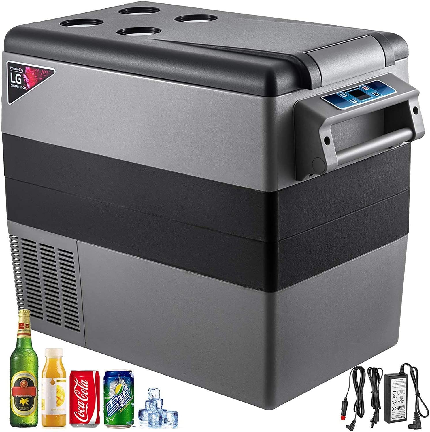 VBENLEM 55L Compressor Portable Small Refrigerator 12V DC and 110V AC Car Refrigerator Freezer Vehicle Car Truck RV Boat Mini Electric Cooler for Driving Travel Fishing Outdoor and Home Use