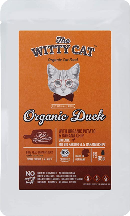 THE WITTY CAT - Alimento para Gatos húmedos 100% ORGÁNICO Certificado - Pato (96%) con Patata & Chips de Plátano, Bolsas 22 x 85 g. (una Sola ...