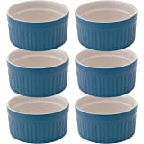 Mrs. Anderson's Baking Souffle, Ceramic Earthenware, Bayberry, Set of 6, 3.75-Inch, 6-Ounce Capacity