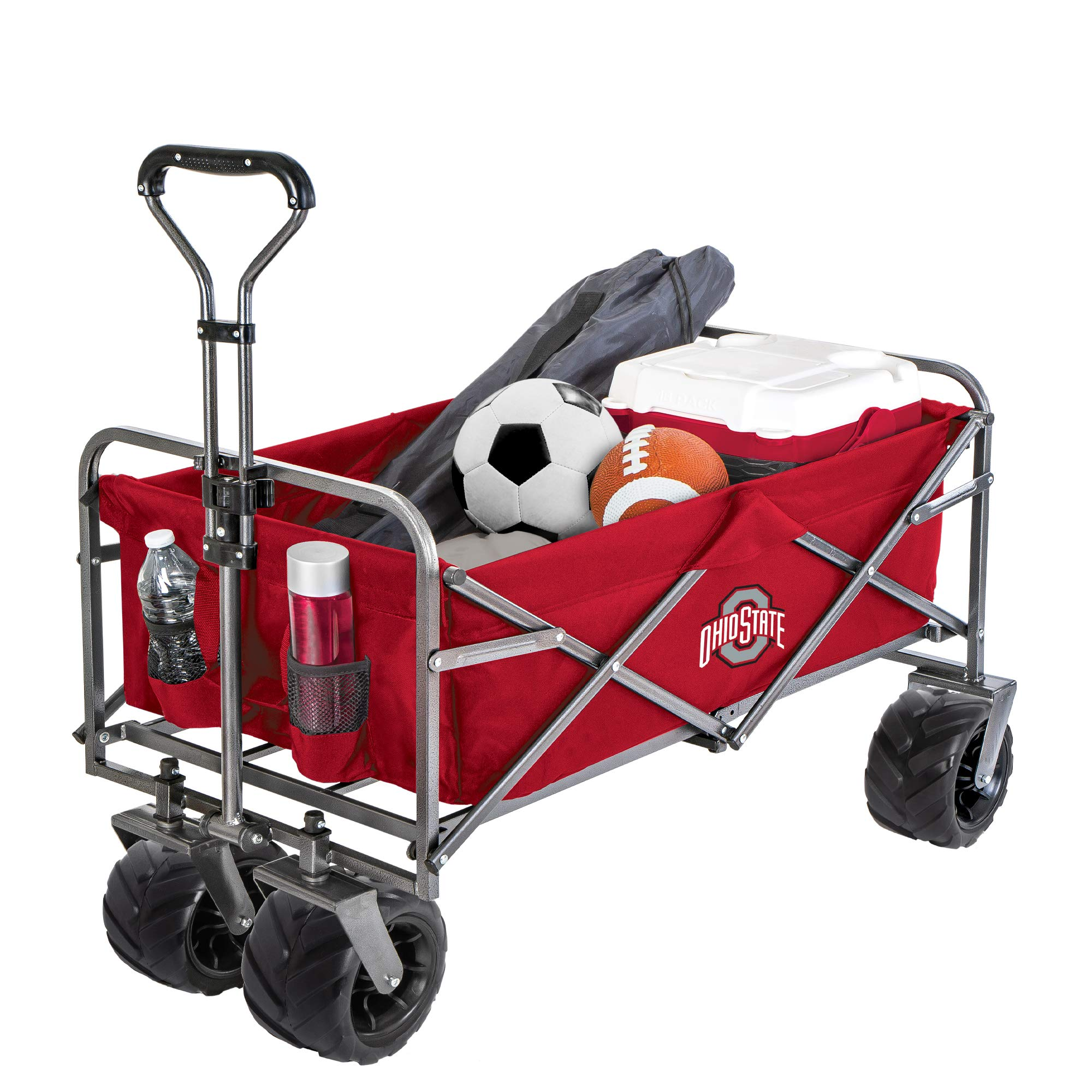 Smart Design Collegiate Heavy-Duty Utility Collapsible Wagon - Beach Cart - 20.15 x 35.5 x 22.5 inch - Ohio State University Team Design - Officially Licensed Logo - Grey & Scarlet Colors - [Buckeyes] by Smart Design